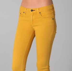 Wax push up jeans mustard pants